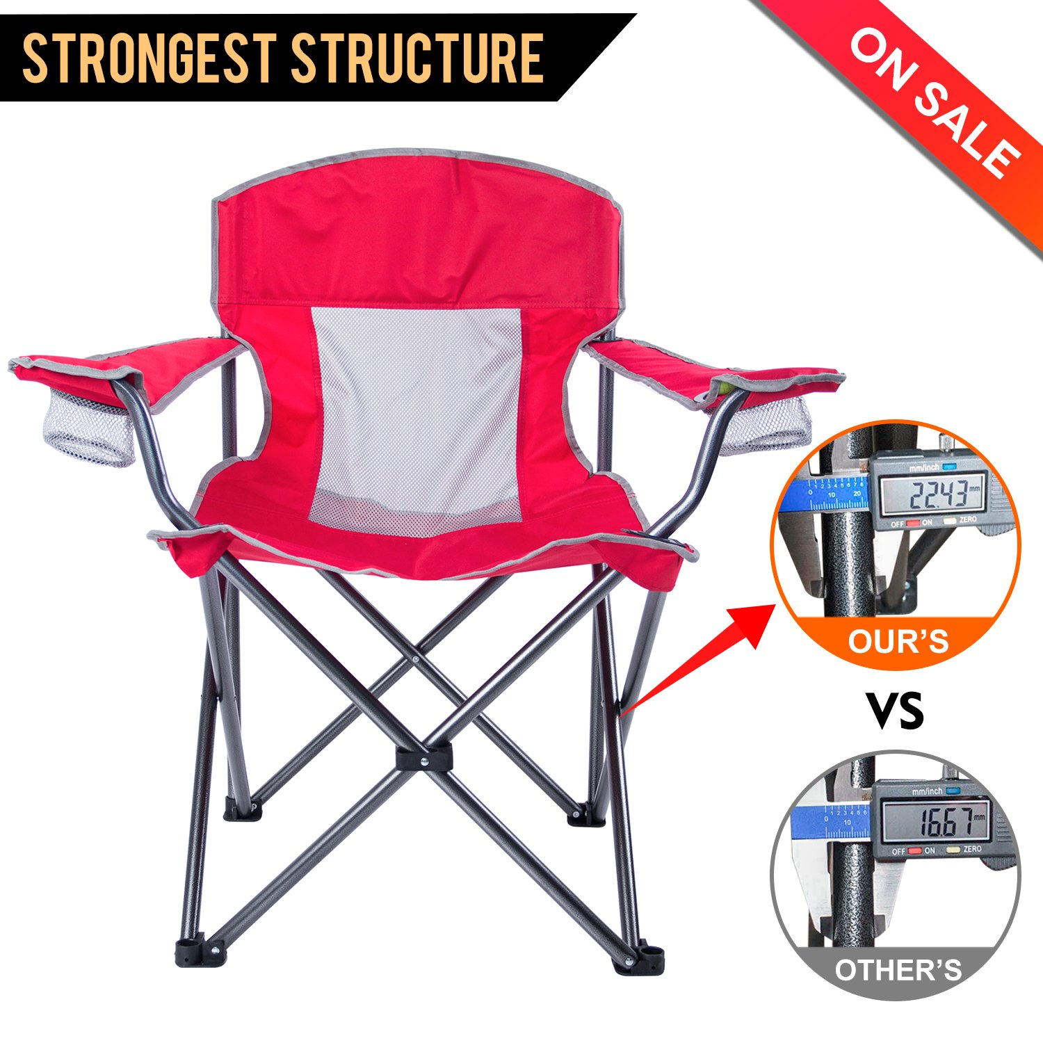 LCH折りたたみ椅子アウトドアキャンプQuad Chair Heavy Duty Deluxe with Two Cup Houlders andアームレストオーバーサイズハイバックサポート300lbsポータブルwith Carryバッグ B078K1CJB6 レッド レッド