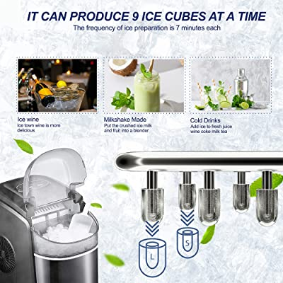 Buy Electactic Ice Makers Countertop Ice Machines 26lbs 24h Portable Ice Cube Maker Machine With Led Display Compact Ice Making Machine 9 Cubes Ready In 6 8 Mins Perfect For Home Kitchen Bar Black Online In