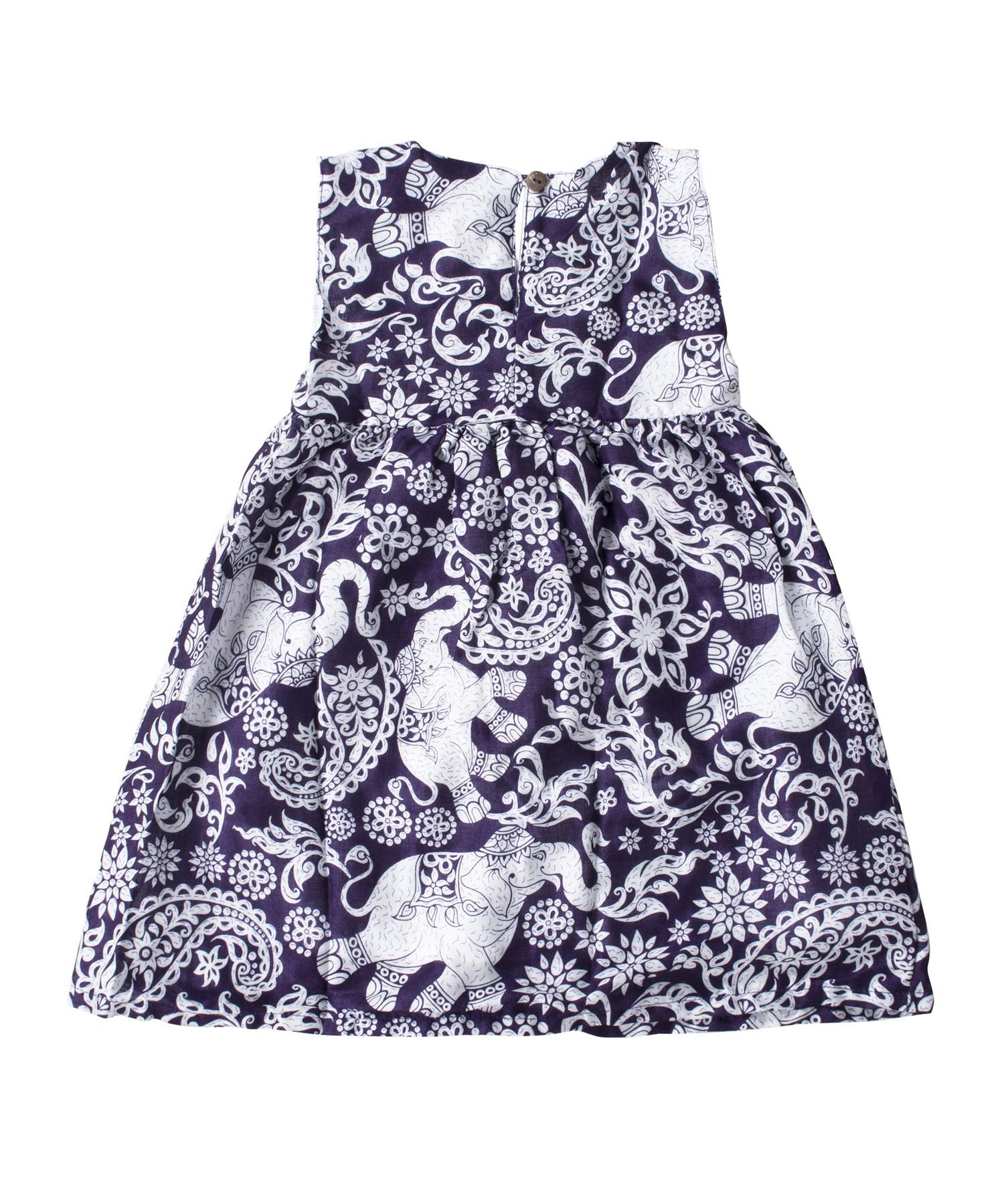 Lofbaz Girls Printed Rayon Sleeveless Tea Dresses - Elephant 4 Purple - 4-5Y