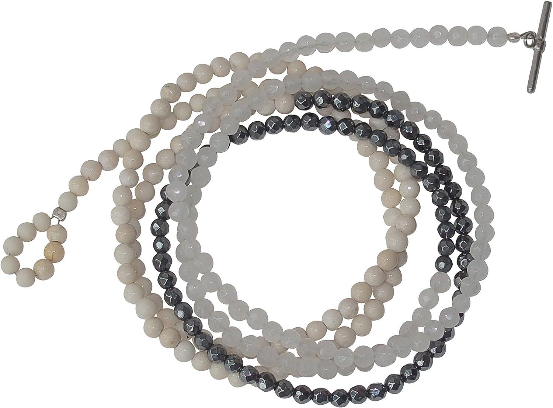 Pulsera 3Färbig Color Blanco, Beige y piedras preciosas plata media Jade Blanco, hematita y Riverstone elaboradas mordaza cierre, 94cm de largo, también como cadena de llevar