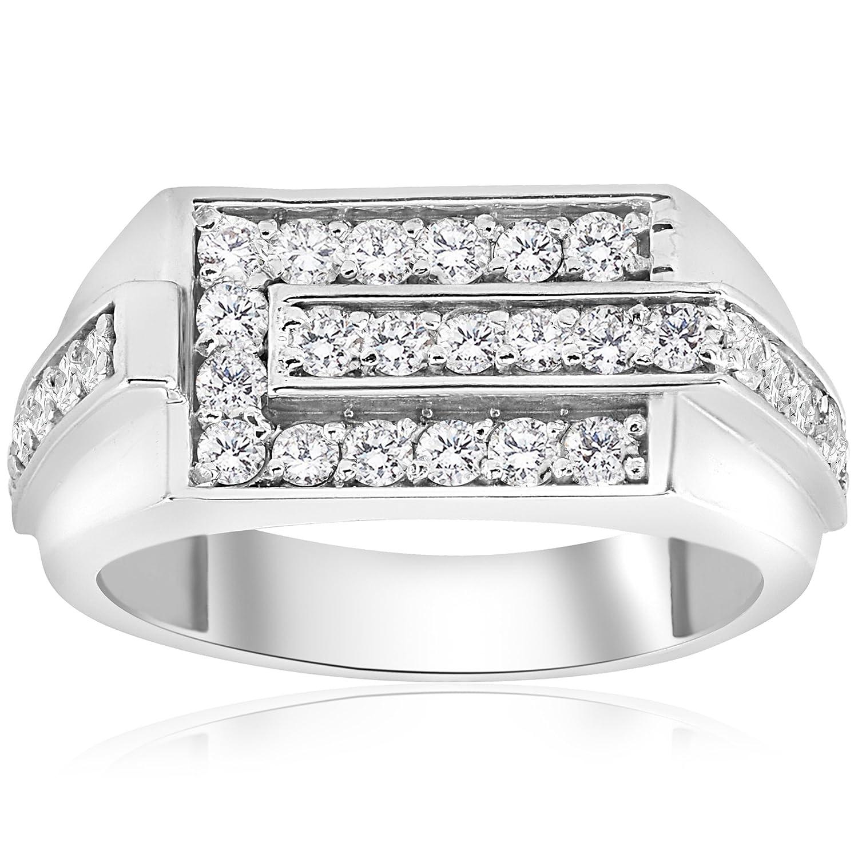 3/4ct Diamond Mens Wedding Ring 10k White Gold