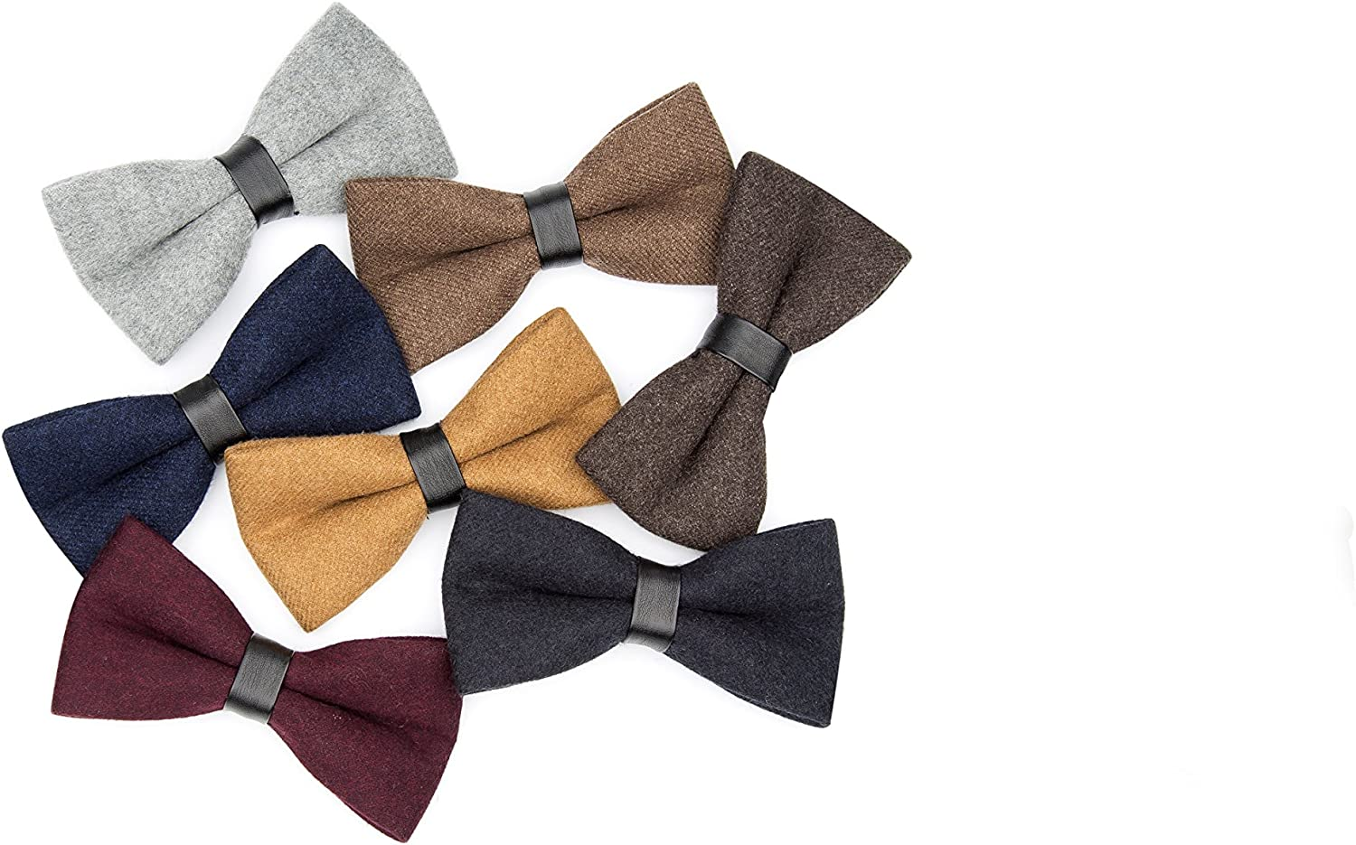 Mens Retro Solid Color Wool Evening Gown Bow Tie Pre-tie Party Cashmere Bowties