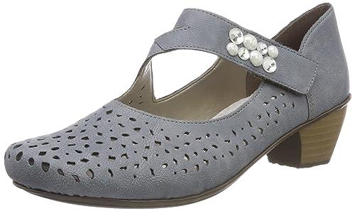 Womens 41767 Closed Toe Heels, Blue Rieker