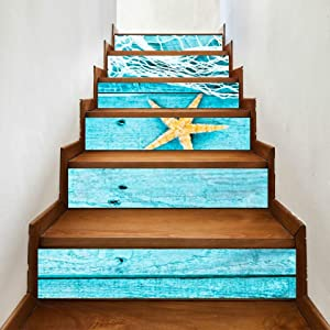JIUCHUAN 6 Pcs Modern Art Stair Stickers,Pretty Turquoise Blue Nautical Background Decorated Vinyl Home Decor Decals,DIY Stairs Self Adhesive Decoration Wall Sticker,7x39inch