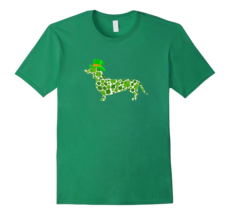 St. Patricks Day Dog Dachshund Irish Pub T-Shirt Clover-ANZ