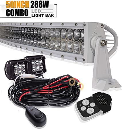 "50"" 288w Incurvée barre de led 4x4 offroad Jeep rampe Phare de Travail Light bar"