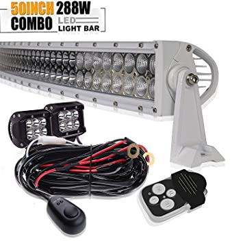 288w 50in curvado spot flood barra led largo alcance faros de trabajo led 12v-24v