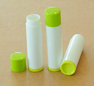 50 NEW Empty Lime Green Top and bottom White Tube LIP Balm Chapstick Tubes Containers .15 oz / 5 ml Tube Make Your Own Chapstick Lip Balm DIY At Home with Caps