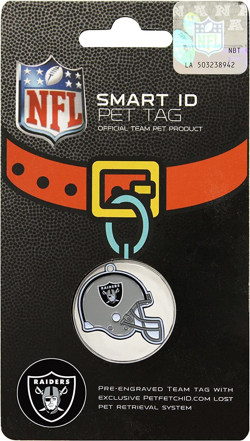 Oakland Raiders Pet Id Tag for Dogs /& Cats Personalized w// Name /& Number