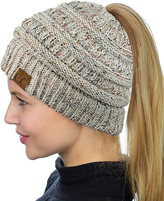 Flecked knit C.C beanie with a ponytail