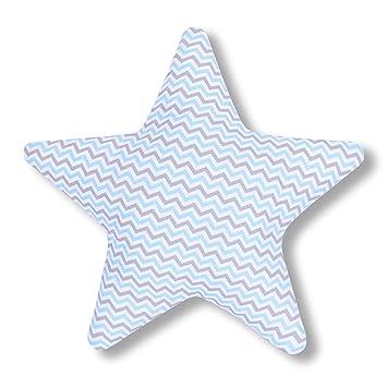 AMI Lian® Cojín Estrella Zig Zag Azul Claro Gris - Cojín ...