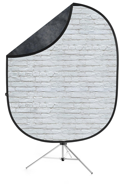 Savage White Brick/Dark Gray Collapsible Backdrop, 5' W x 7' H w/ 8' Aluminum Stand