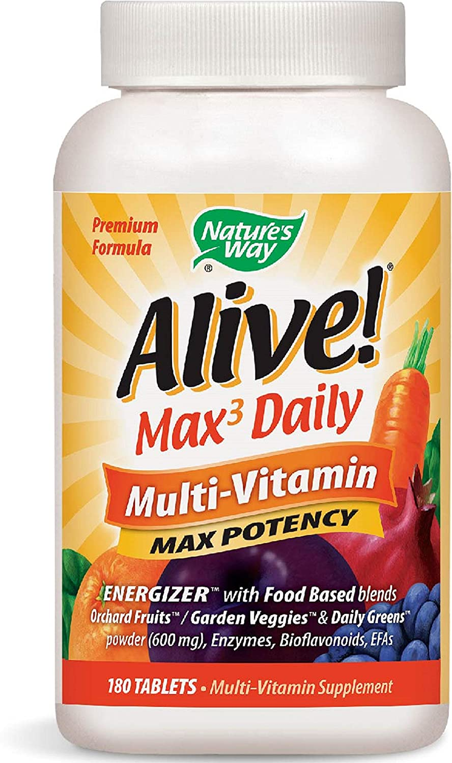 Nature s Way Alive Premium Max3 Daily Multi-Vitamin Energizer w Food Based Blends, 180 Count