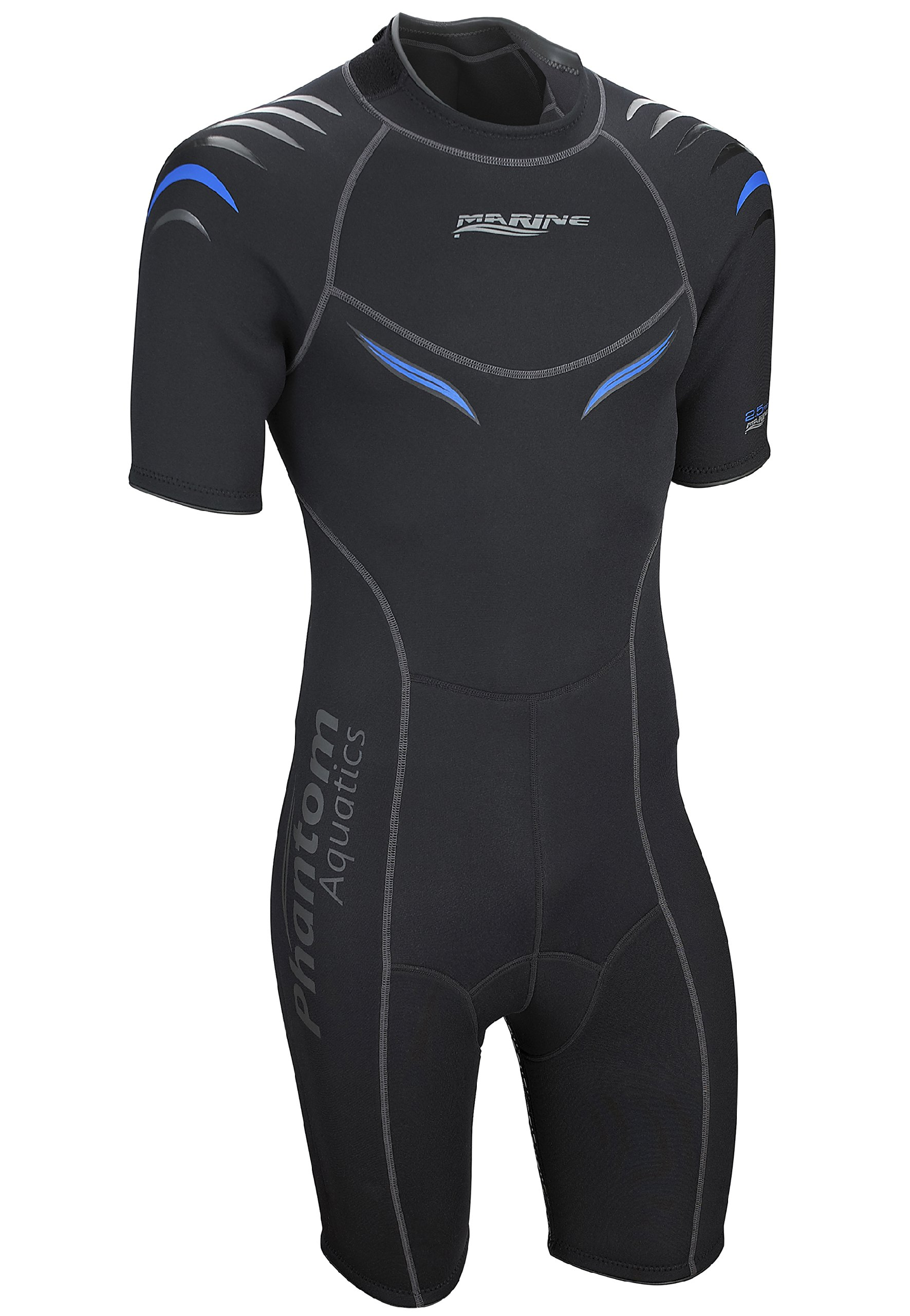 Phantom Aquatics Marine Men's Shorty Wetsuit, Black Blue - Small by Phantom Aquatics