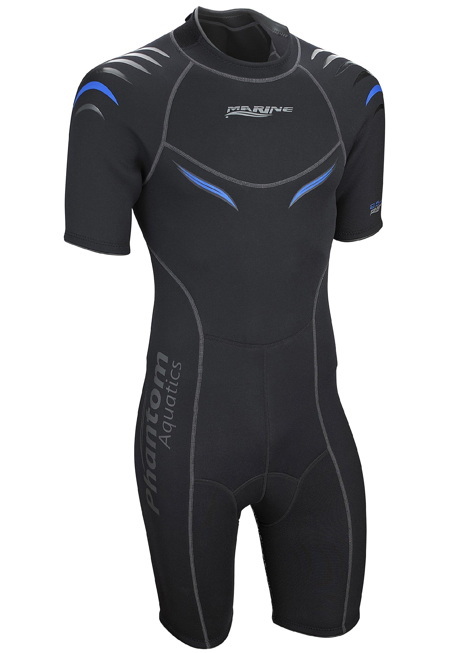 Phantom Aquatics Marine Men's Shorty Wetsuit, Black Blue - Small
