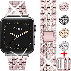 WINOW Compatible for Apple Watch Band 38mm 40mm with Rhinestone Protective Cover, Women Girls Jewelry Bling Diamond Metal Strap & 2pack Soft PC Bumper Protective Case(Rose Pink)