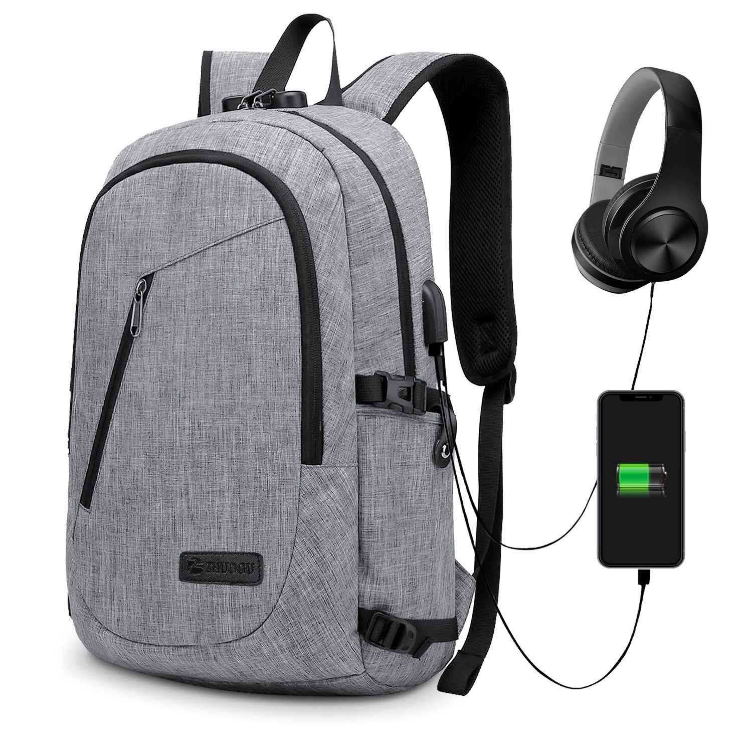 Anti-Theft Backpack, GIM Business Laptop Backpack with USB Charging Port and Earphone Port Slim Water Resistant Bag Daypack 15.6 Inch Computer Rucksack for Work College (3-Upgraded Grey)