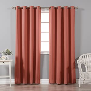 Best Home Fashion Thermal Insulated Blackout Curtains - Stainless Steel Nickel Grommet Top - Brick - 52