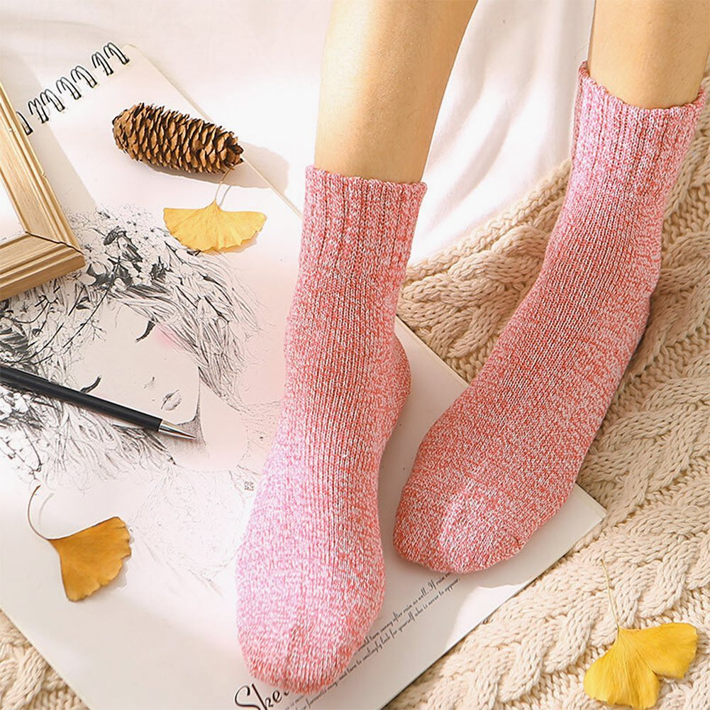 Hippih 5 Pairs Socks Womens Vintage Style Winter Thick Knitting Warm Wool Crew