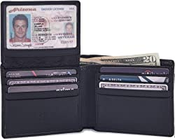COCHOA Men's Real Leather RFID Blocking Stylish Bifold Wallet with 2 ID Window (Nappa, Black)