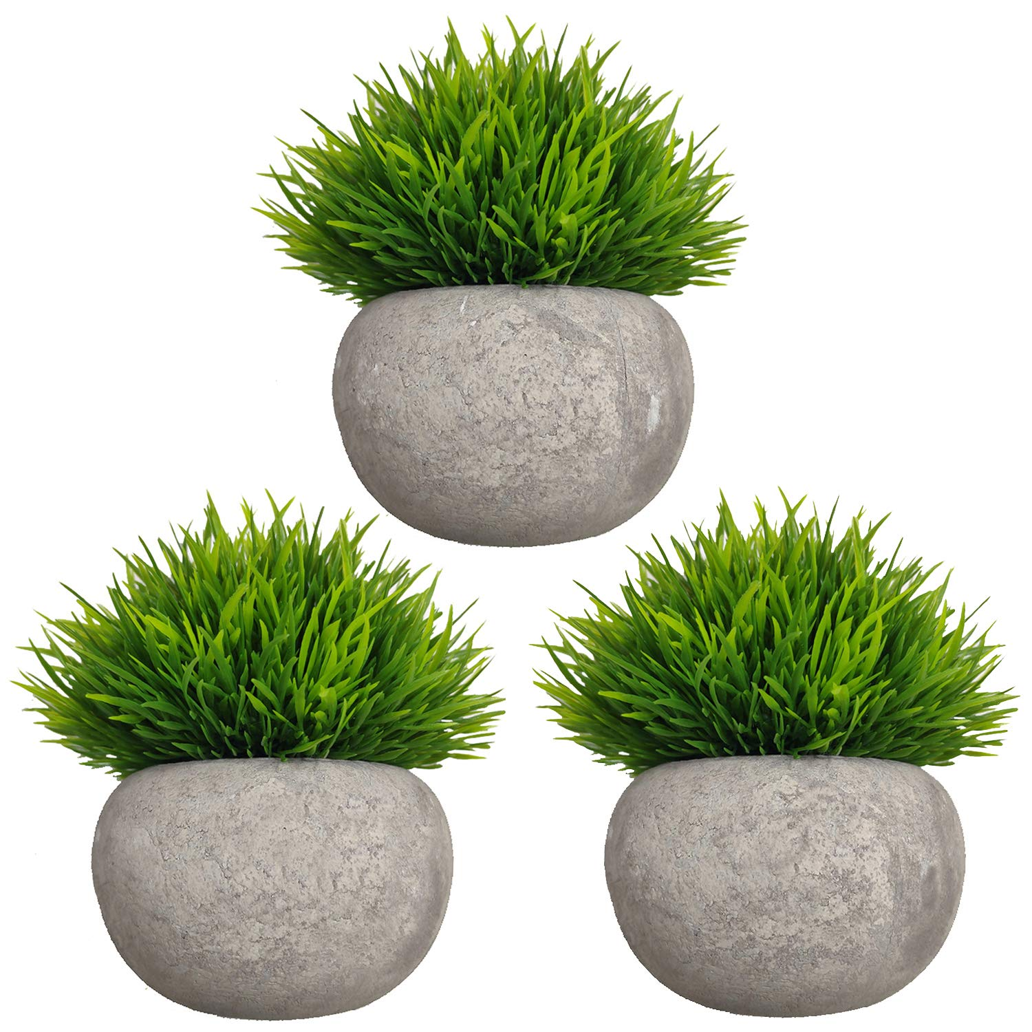 MIXCUTE Mini Artificial Plants 3 Pack Fake Plants Potted Faux Grass Topiary Shrubs with Pots for House, Farmhouse, Bathroom, Office, Home Decor