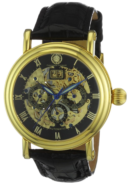 Constantin Durmont Skeleton - Reloj analógico de caballero automático con correa de piel negra - sumergible a 30 metros