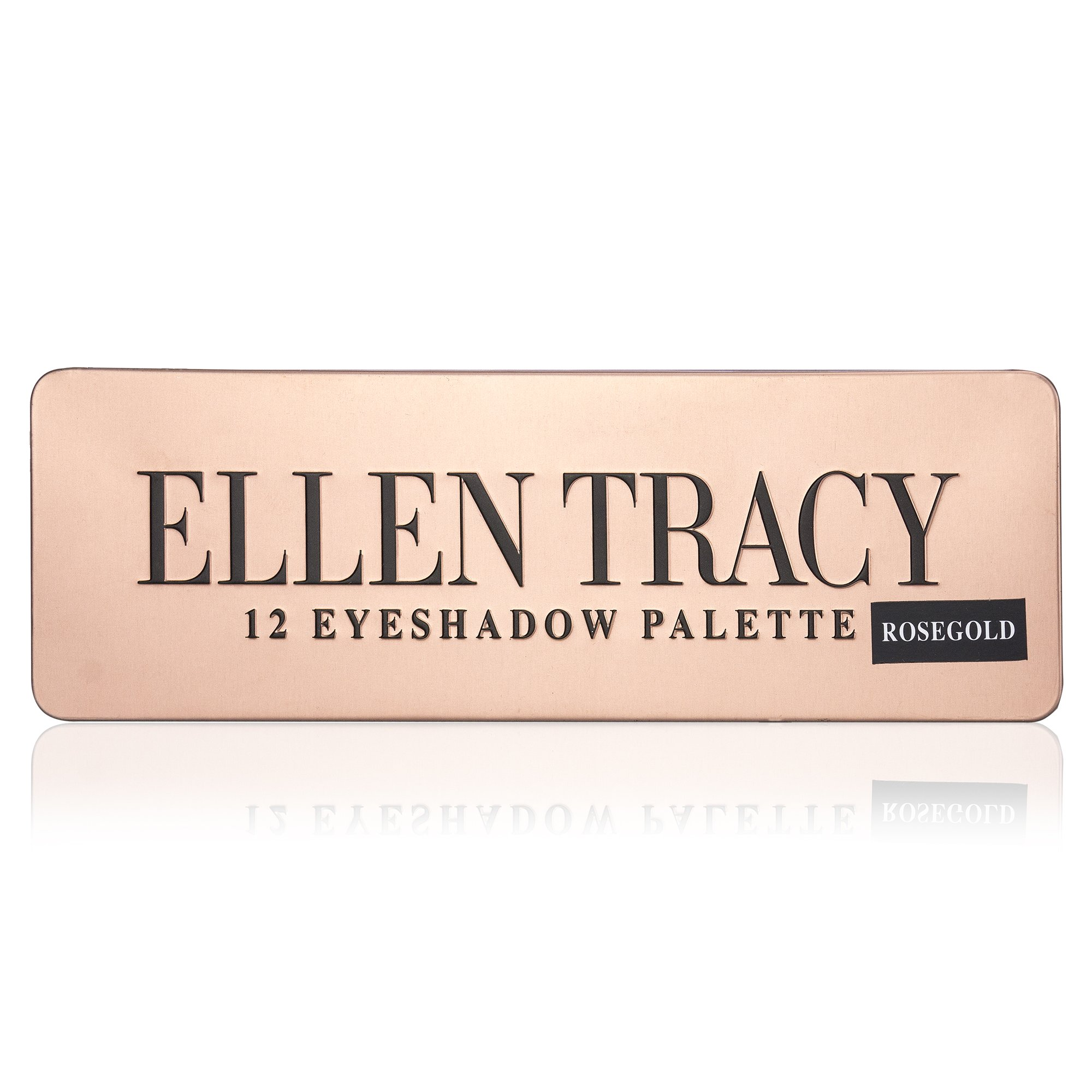 Ellen Tracy Luxurious 12-Well Eye Shadow Palette in Tin Box, Easy to Apply, Everyday Wear, for Women, Teen Girls, Rose Gold Colors, Blushed + Glowing + Romantic Look, with Eyeshadow Brush Included