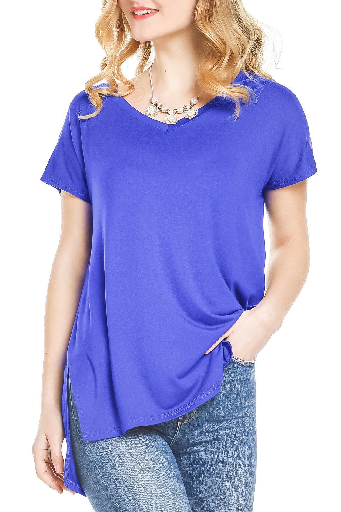 Florboom Summer Tops for Women Flowy V Neck T Shirts Short Sleeve Blouses Plain Royal Blue XL