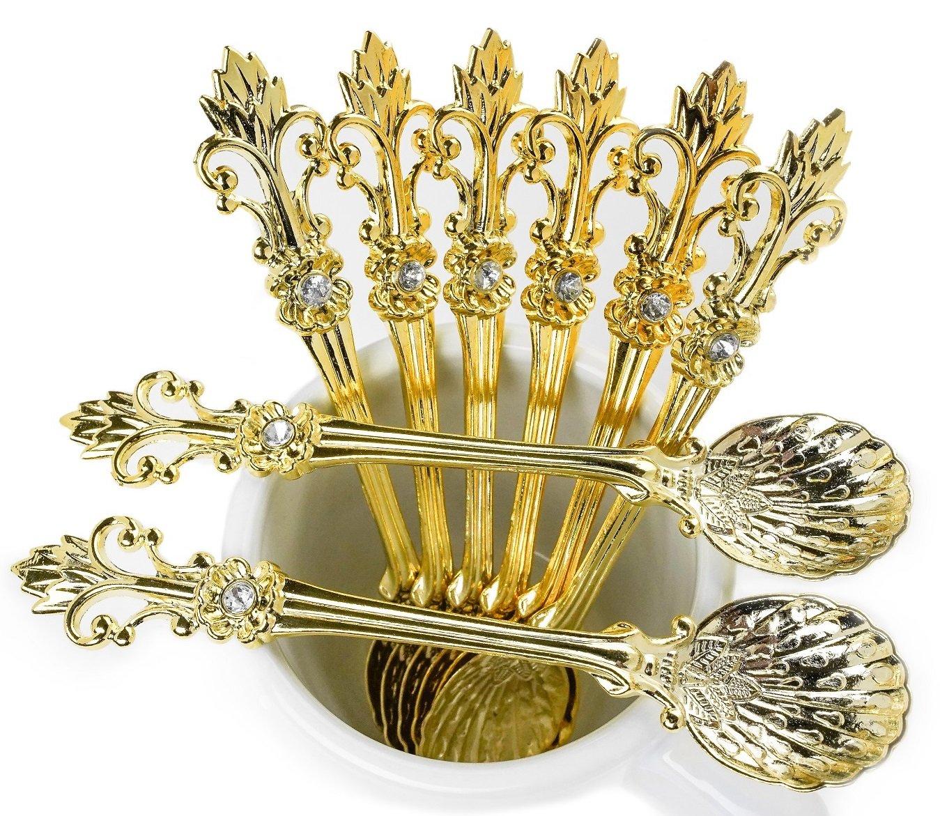 Mini Spoons Set of 8 by Movalyfe Kitchen - Coffee Espresso Demitasse Vintage Tea Spoon 4.5