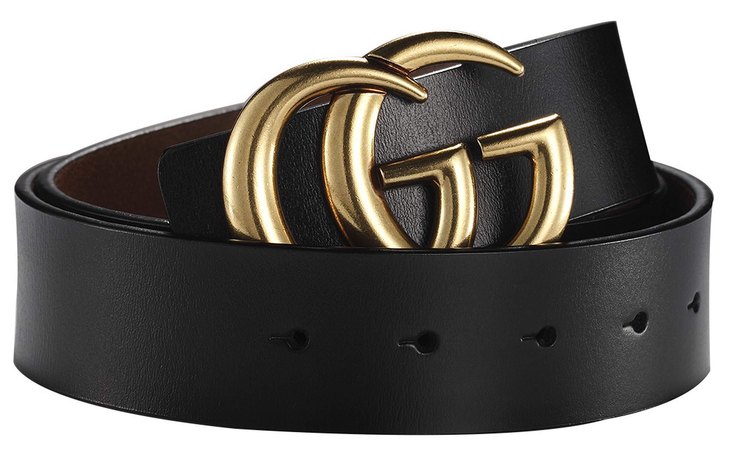 Big Hot Gold Buckle Leather Belt for Women Lady Unisex - USA Fast Deliver 2-7 Days Guarantee - 3.8cm Belt Width (100cm (Waist 29''~35''), Black)