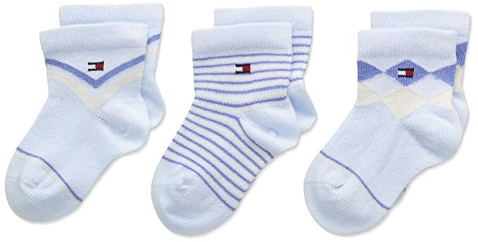 Tommy Hilfiger Giftbow MC Missile Bébé Lot de 3, Calcetines para Bebés, Azul (