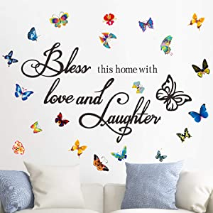 Wall Decals Srickers Entryway Bless This Home with Love and Laughters with Butterflies Religious Sayings Quotes Vinyl Living Room Art Decor Blessing