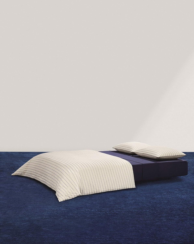 Calvin Klein Home Modern Cotton Sonny Duvet, King, Cream/Navy