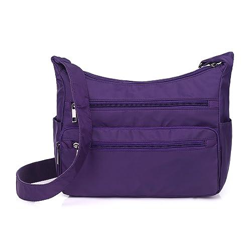 68f51c247df7 Crossbody Bag for Women Waterproof Messenger Shoulder Bag Casual Nylon  Purse Handbag Multi Pocket Lightweight Travel Bag