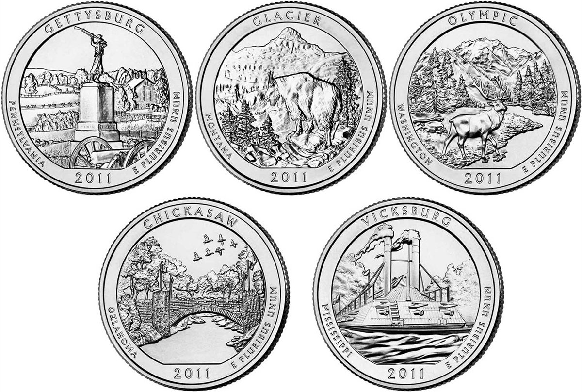 2011 P, D BU National Parks Quarters 10 coin Set Uncirculated