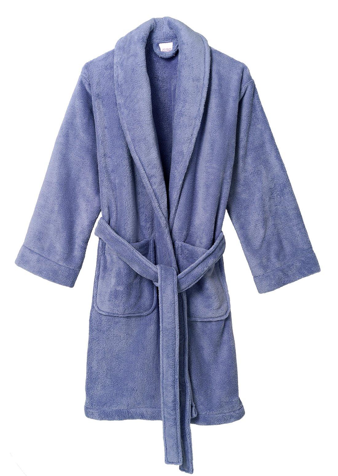 TowelSelections Women's Robe, Plush Fleece Short Spa Bathrobe Small Deep Periwinkle