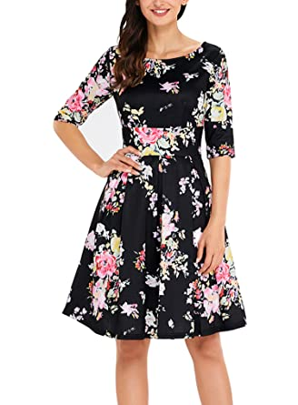 Sidefeel Women Vintage 1950's 3/4 Sleeve Floral Print Pleated Cocktail  Swing Dress Small Black