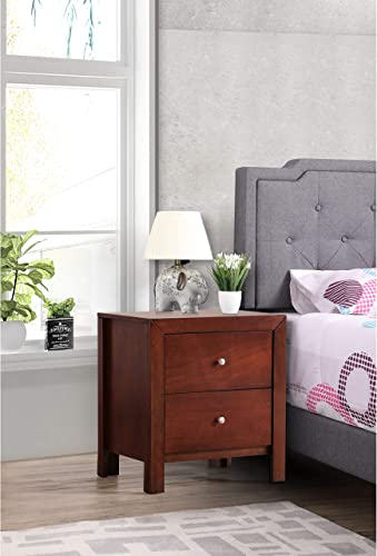 Glory Furniture Burlington 2-Drawer Wood Nightstand Cherry Cherry Finish