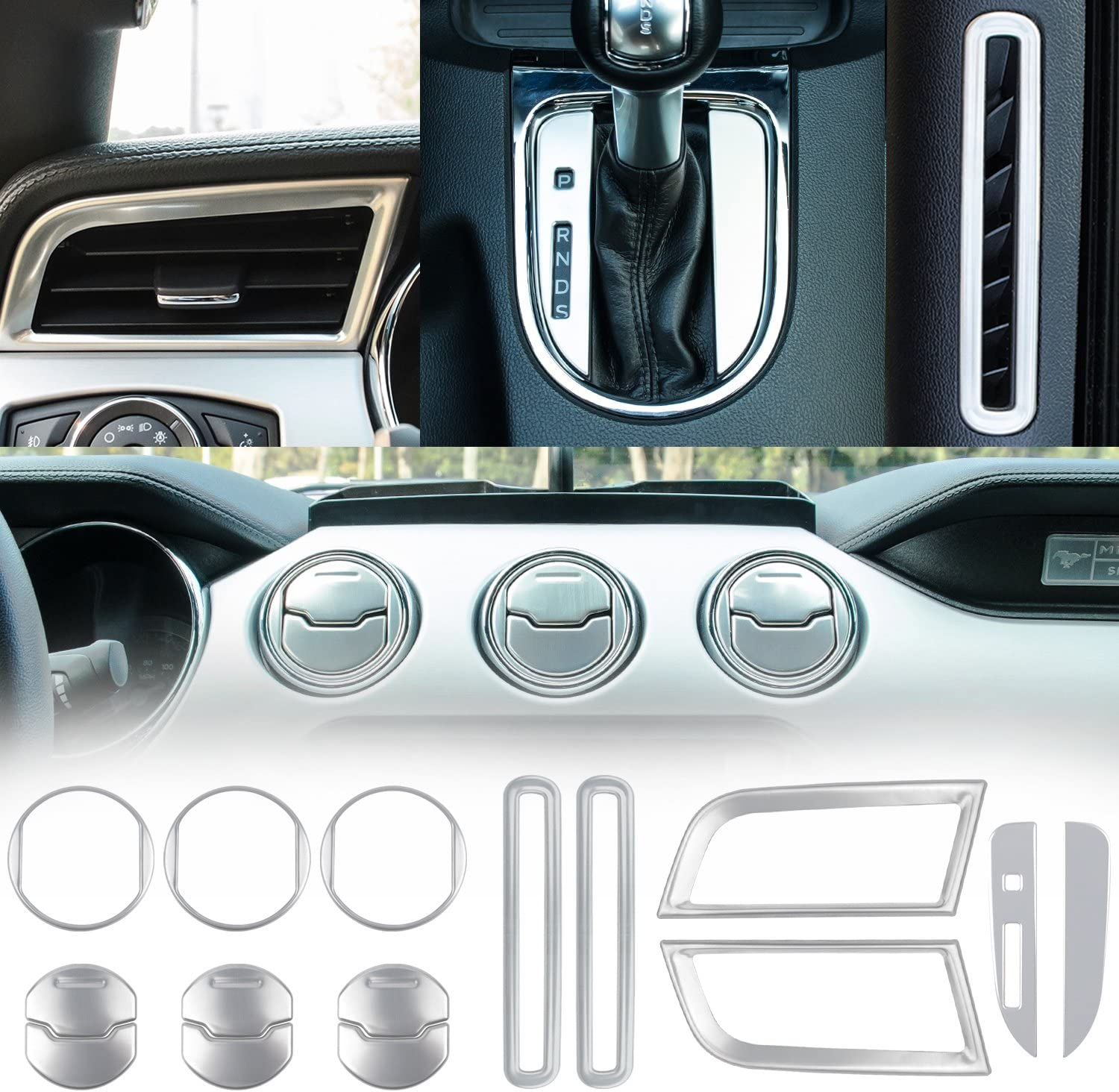 BLUE 15PCS For 2015-2018 Ford Mustang Interior Accessories Decoration Console Central /& Car Door /& Dash Board Side Air Conditioner Outlet Vent Shift Gear Box Switch Button Cover Trim
