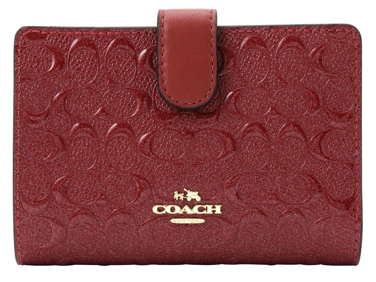 (コーチ) COACH 財布 二つ折り シグネチャー パテント MEDIUM CORNER F25937 アウトレット [並行輸入品] B07BGWM61D ダークレッド ダークレッド