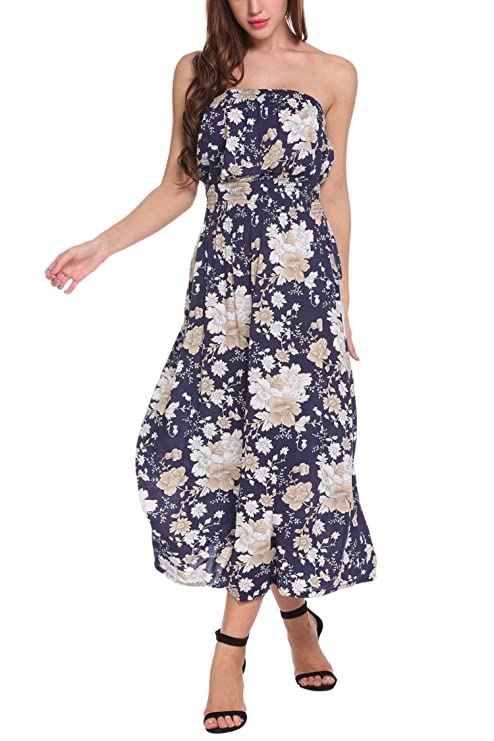 fed4626e651d2 Zeagoo Women s Sexy Vintage Strapless Summer Sun Dress Beachwear(Dark Blue