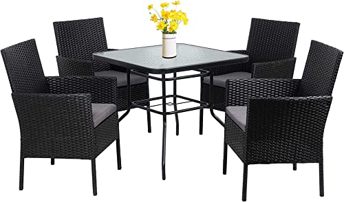 Walsunny 5-Piece Indoor Outdoor Wicker Dining Set Furniture,Square Tempered Glass Top Table