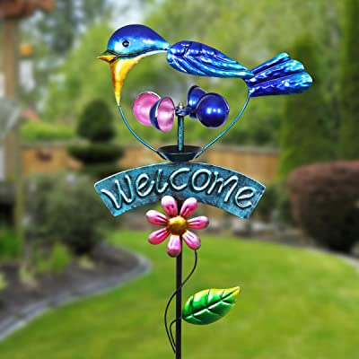 Exhart Blue Bird Welcome Sign Garden Stake Wind Spinner - Metal Blue Kinetic Spinners in Blue Metallic Coat - Kinetic Art Vertical Wind Spinners in Bird Metal Design, 11 x 36 Inches : Garden & Outdoor