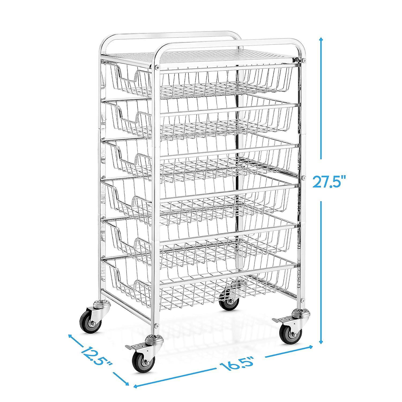 Chrome Office Supplies Cabinet Organizer with Sliding Storage ...
