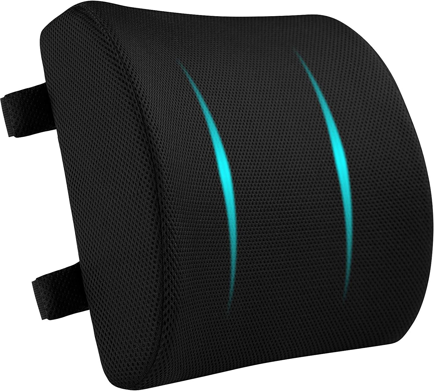 Lumbar Support Pillow for Back Pain Relief Ergonomic Back Pillow for ofice Chairs Memory Foam Backrest for Home Office Car Computer Desk Recliner, Breathable 3D Mesh Cover Black