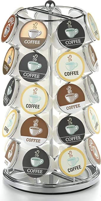 35 K Cup Holder Keurig Coffee Pod Carousel Chrome Plated Countertop Display