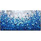 Large Textured Blue Flowers Canvas Wall Art Hand Painted Modern Decoration Oil Painting Picture Framed Ready to Hang…