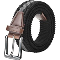"Men Belt High Stretchy Elastic Braided Belt for (34""-70"" Waist) Regular and Big & Tall Double Layer Woven Belt"