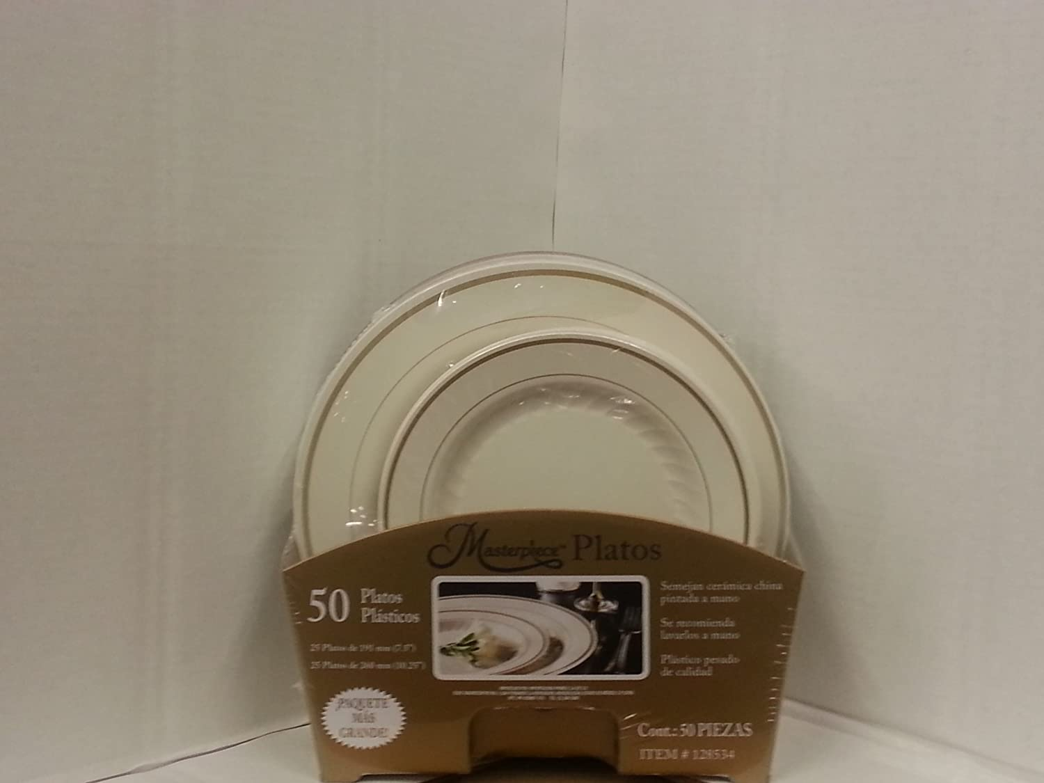Amazon.com Masterpiece Premium Heavyweight Gold Trim Plastic Plates 25 Dinner Plates and 25 Salad Plates Kitchen u0026 Dining & Amazon.com: Masterpiece Premium Heavyweight Gold Trim Plastic Plates ...