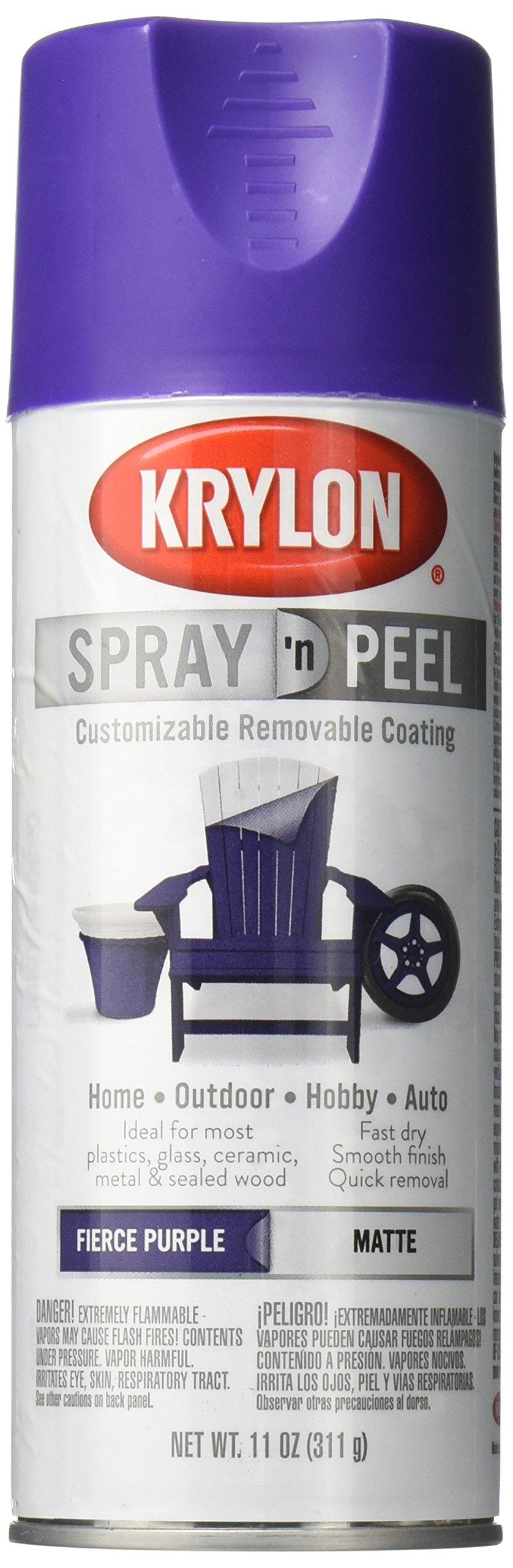 Krylon K09940000 Spray 'n Peel Paint, Matte Fierce Purple, 11 Ounce